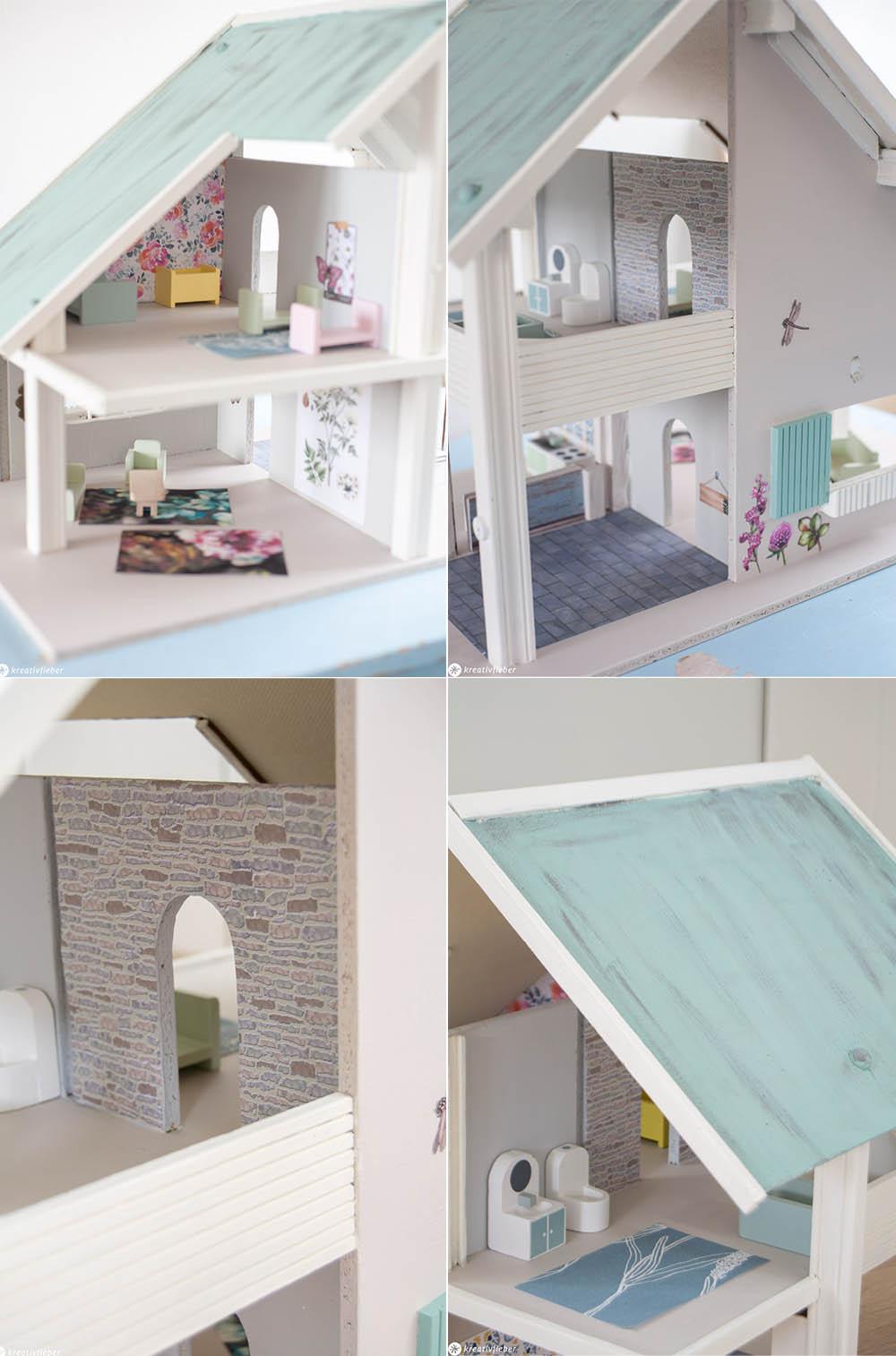Puppenhaus mit Tapete dekoriert