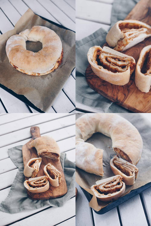 Tortano - gefülltes Brot mit karamellisierten Zwiebeln und getrockneten Tomaten - Beilage fürs Grillen oder Picknick Rezept