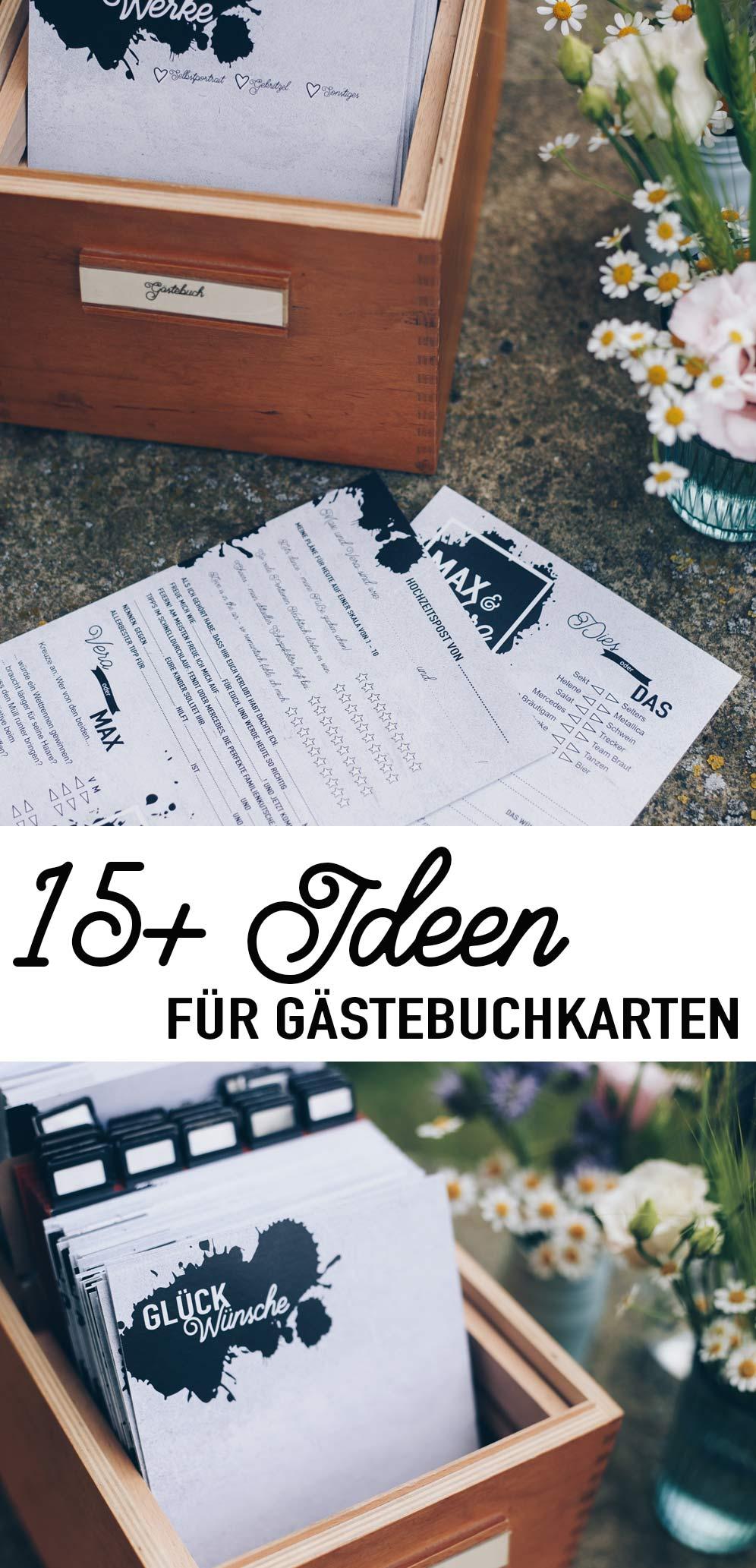 mehr als 15 Ideen für DIY Gästebuchkarten zur Hochzeit