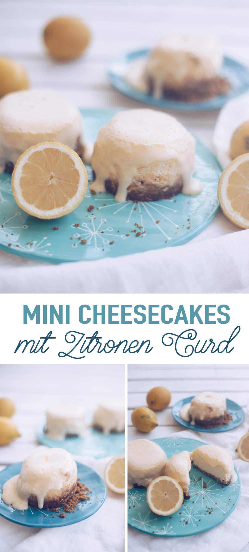 Mini Cheesecakes mit Zitronen Curd backen - einfaches Rezept