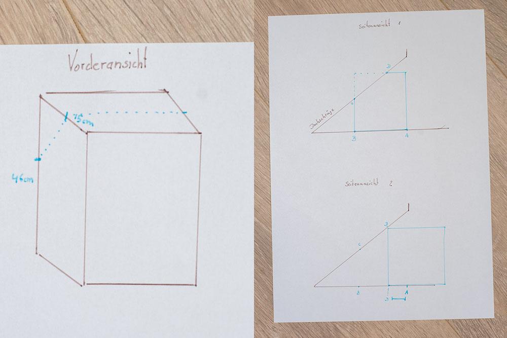 Skizze Ausmessen Schrank für Dachschräge