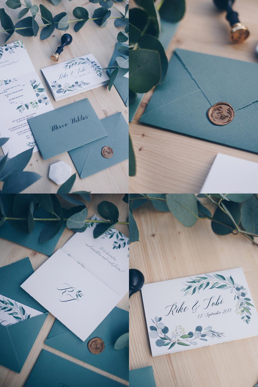 Hochzeitseinladungen mit Eukalyptus und Wachssiegel selbstgestalten - DIY Anleitung