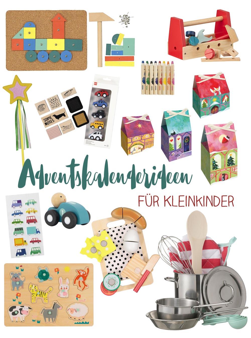 Adventskalenderideen für Kleinkinder - viele günstige Ideen und Holzspielzeug das man aufteilen kann.