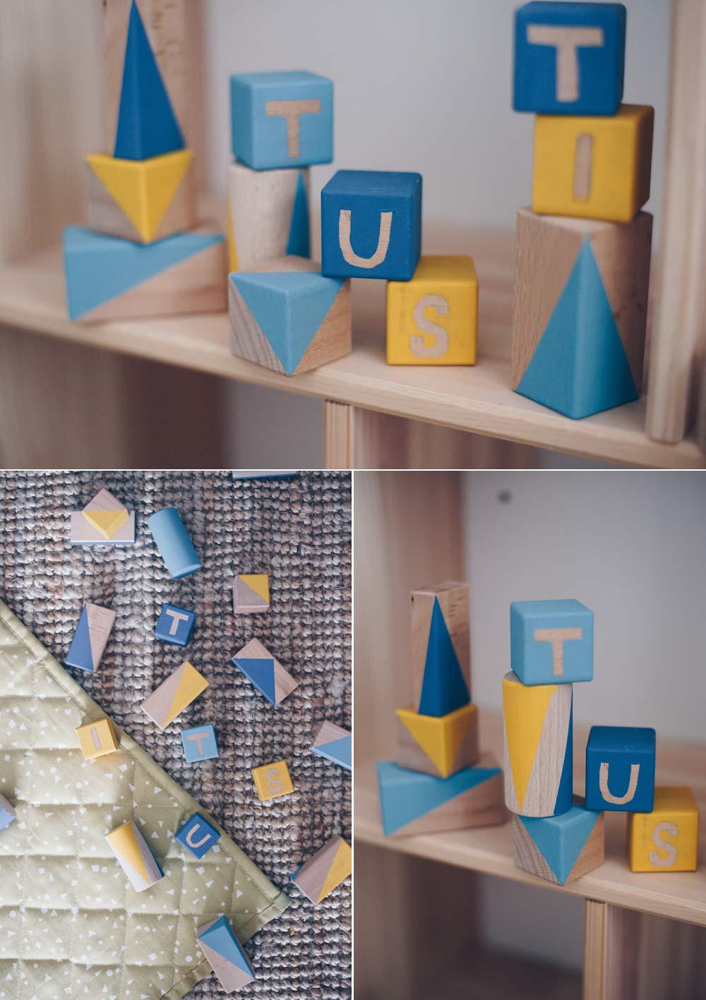 DIY Bauklötze Set mit Namen selbermachen - Bauklötze bemalen - Geschenkidee zur Geburt