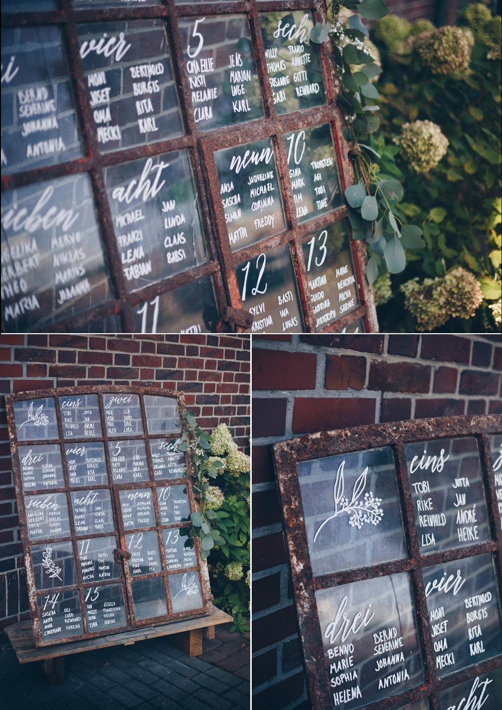 Tischplan für Hochzeiten auf Fenster malen
