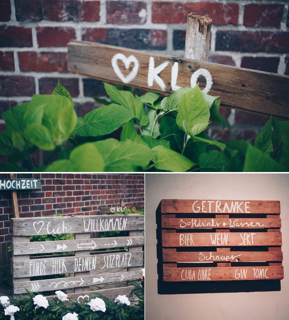 Holzschilder für eine Scheuenhochzeit - Hinweis Schilder, Schild für Bar und Willkommensschild für eine DIY Hochzeit