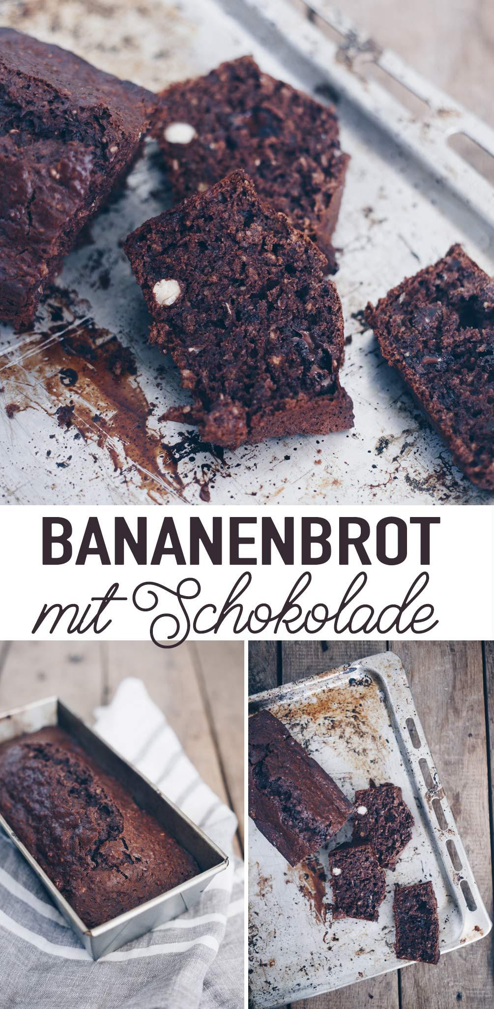 Schokoladen-Bananenbrot backen - einfaches Rezept für einen Kastenkuchen mit reifen Bananen
