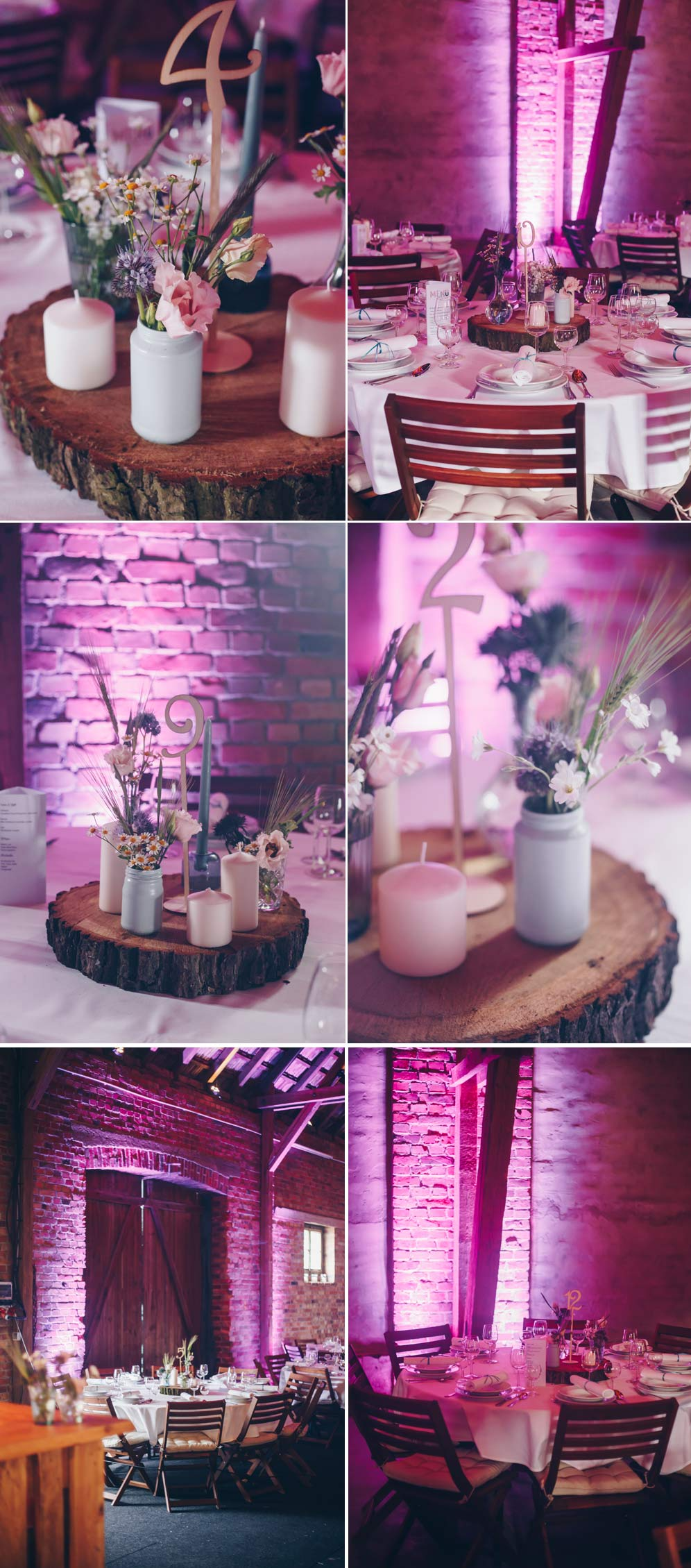 Selbstgemachte Hochzeitdeko für eine Scheuenhochzeit mit runden Tischen - Deko DIY Hochzeit