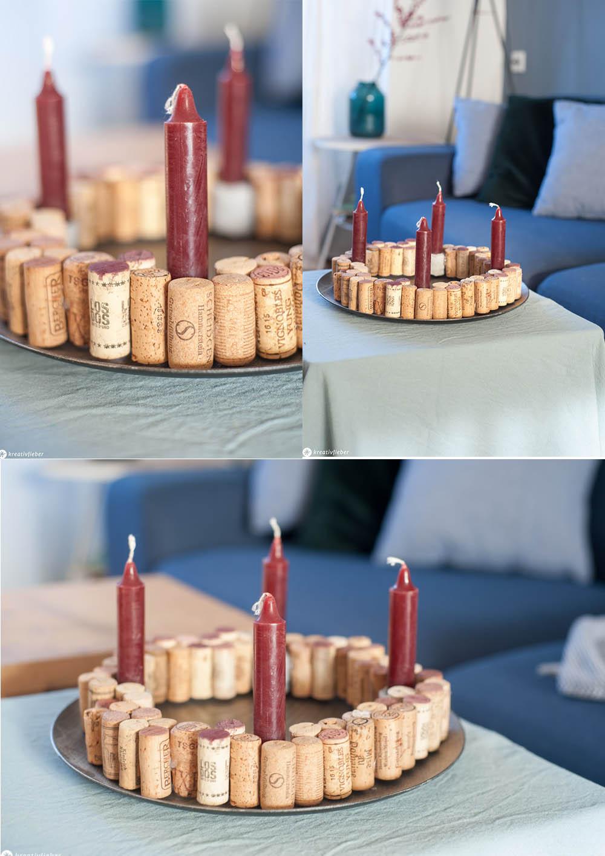 Adventskranz basteln aus Weinkorken Kork DIY Adventsdeko