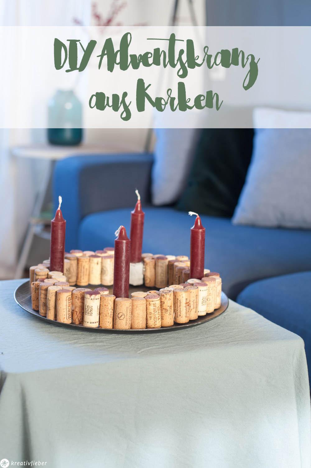 Adventskranz mit Weinkorken basteln Kork Adventsdeko für Weihnachten