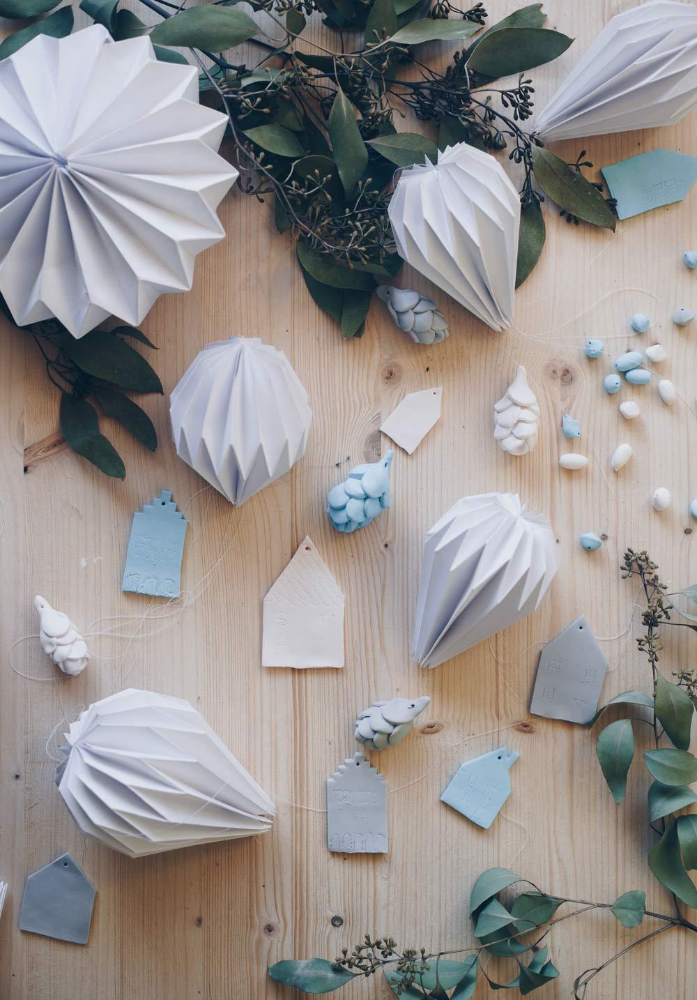 DIY Weihnachtsbaumanhänger selbermachen aus Fimo und Papier