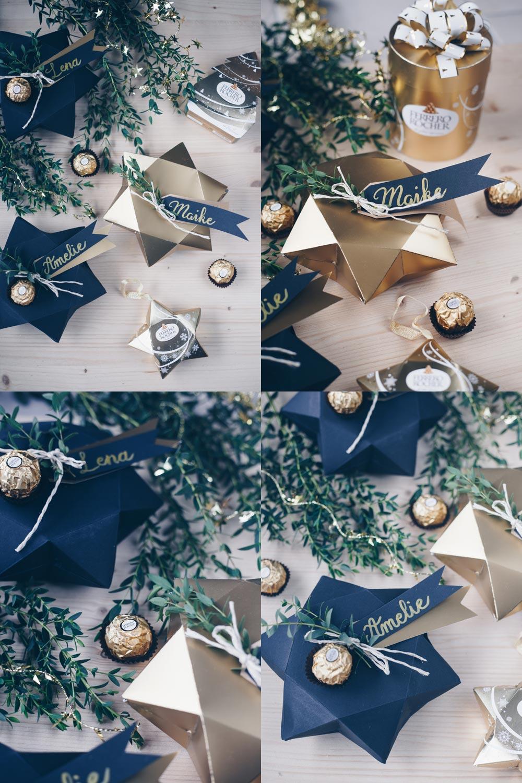 DIY Geschenkschachtel falten in Sternform mit Schritt für Schritt Videoanleitung