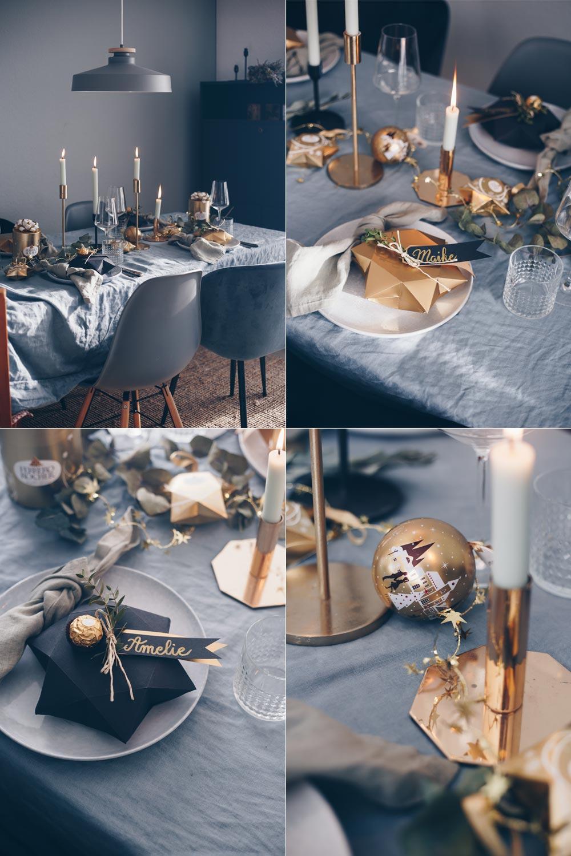DIY Geschenkschachtel in Sternform falten - Weihnachtstischdeko Ideen mit Gold