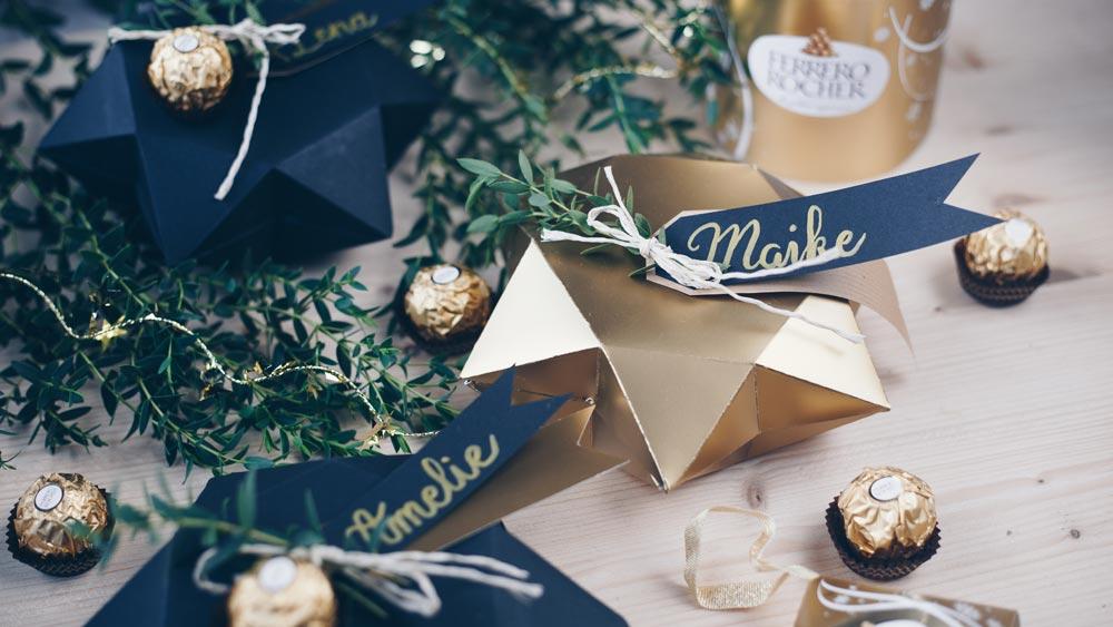 Sternschachtel falten - schön als Geschenkverpackung zu Weihnachten in schwarz und gold