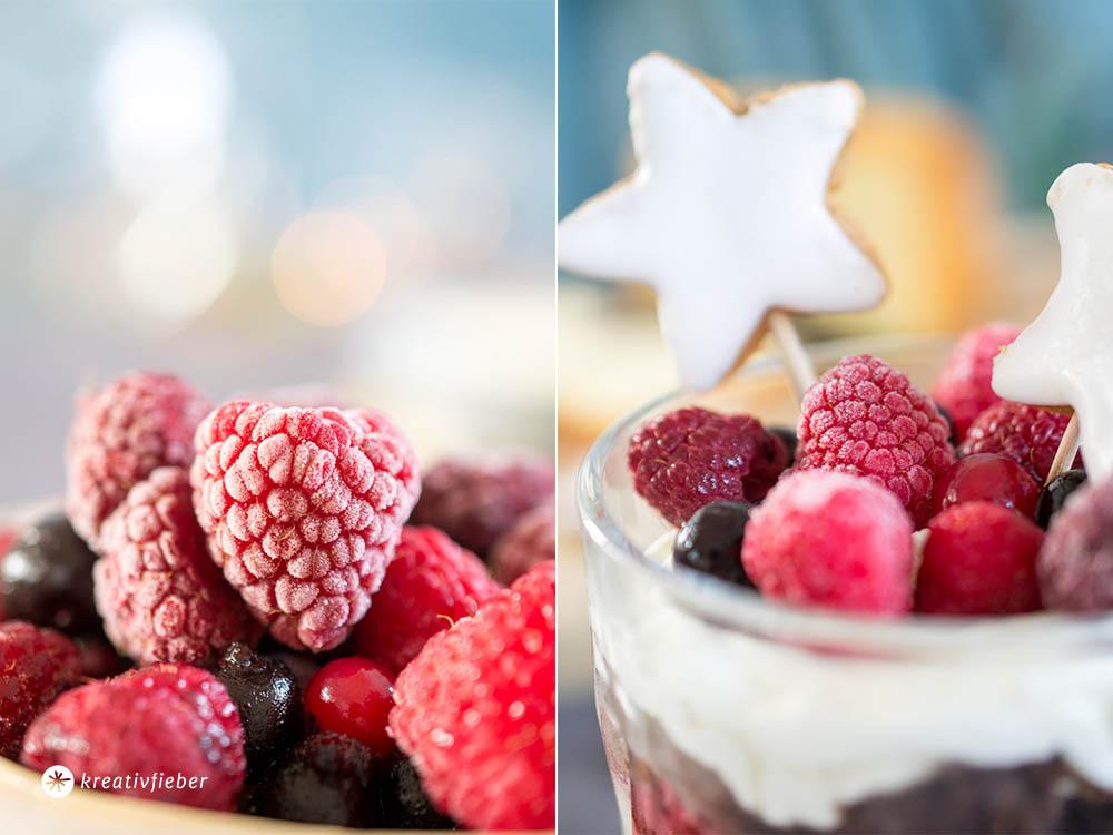 Tiefkühlbeeren Dessert Idee Weihnachten Zimtsterne