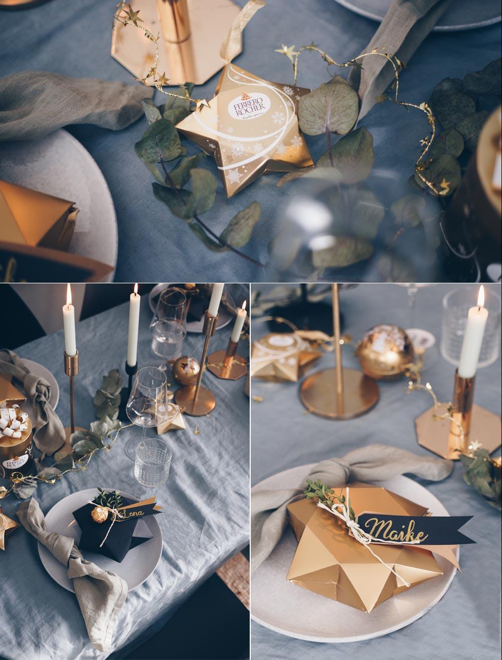 Weihnachtstischdeko in Goldtönen mit DIY Sternschachtel Faltanleitung