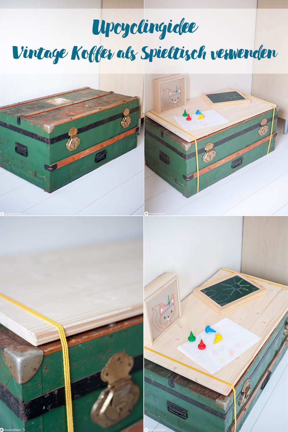 Vintage Koffer upcyclen Tisch Kinderzimmer