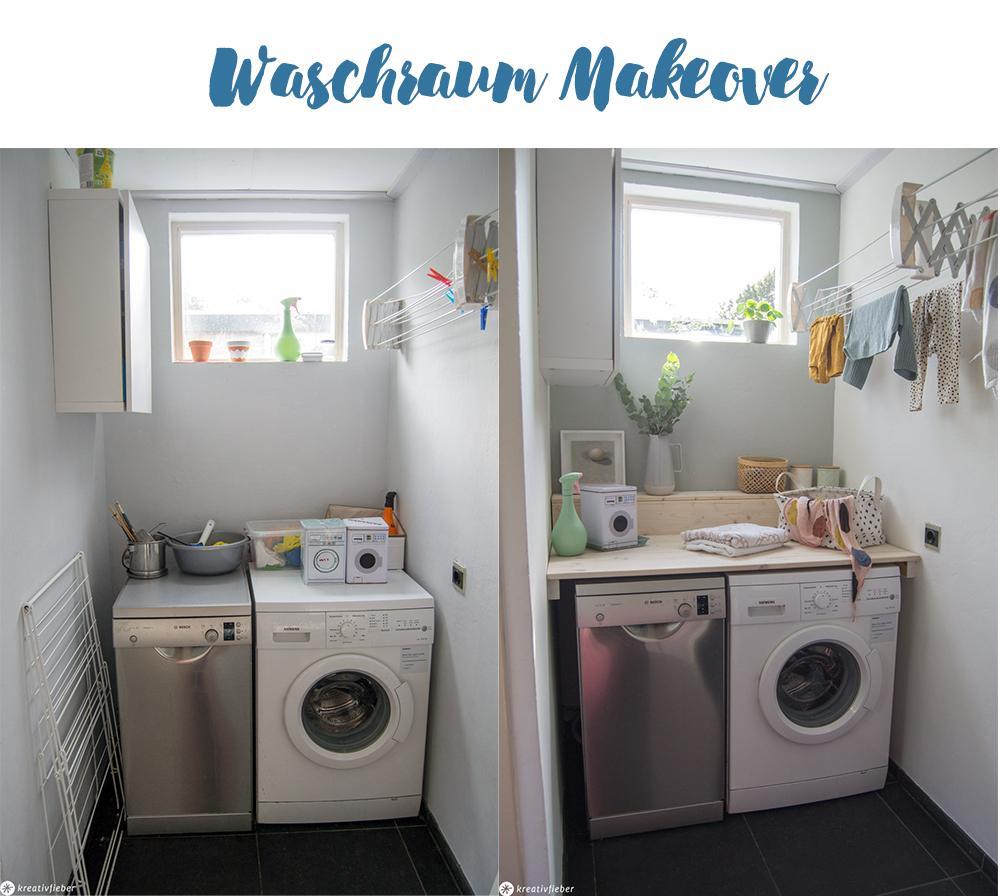 Makeover Waschküche Waschraum Tisch für Waschmaschine