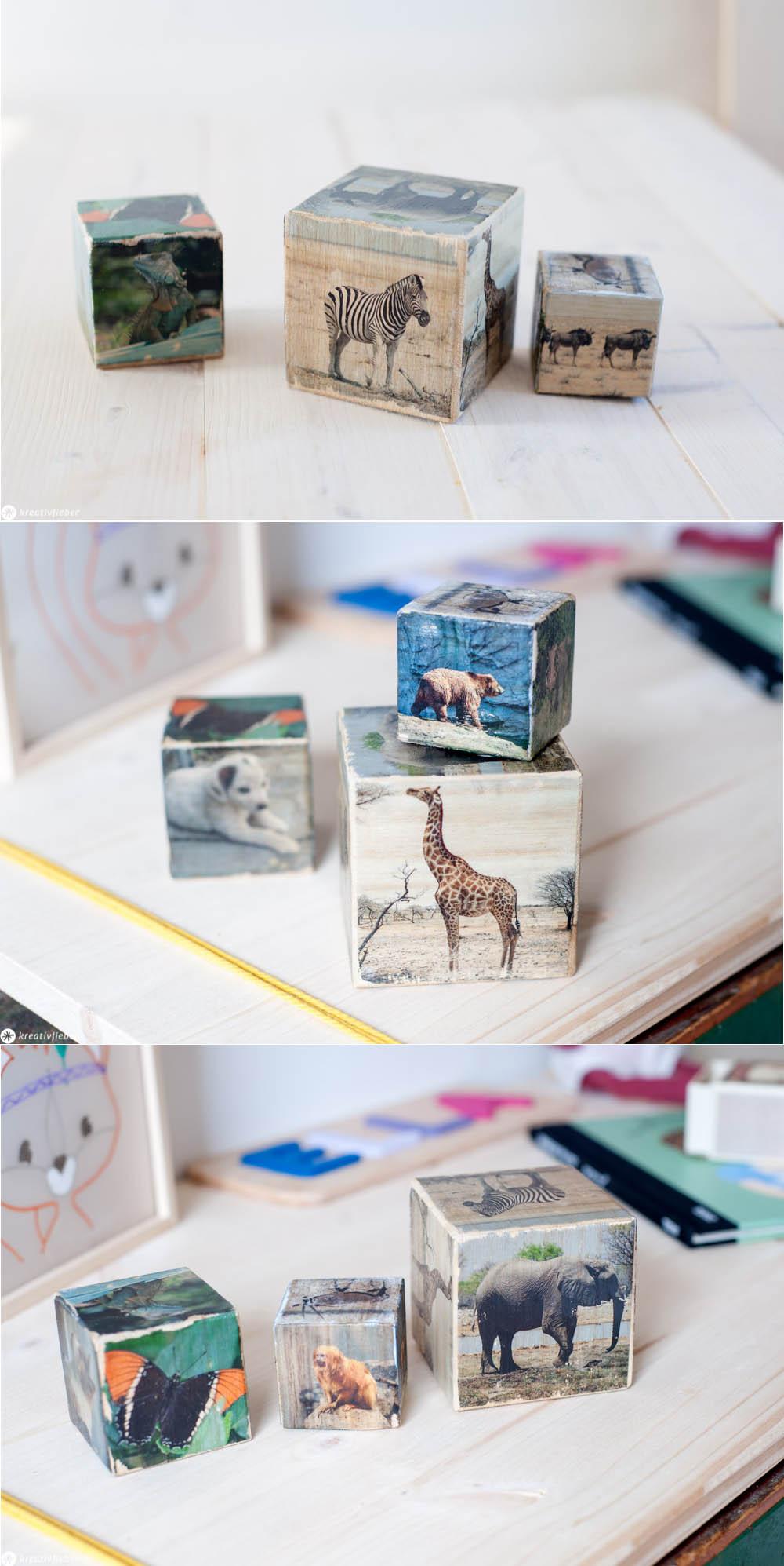 Fototransfer auf Holz Bauklötze Holzwürfel für Kinder Kinderzimmerdeko Geschenkidee