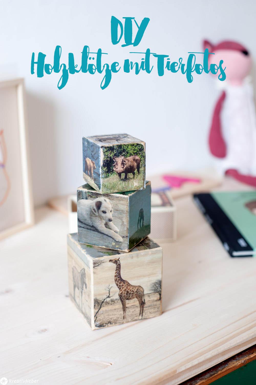 Kinderzimmerdeko Geschenke für Kinder Bauklötze Holzwürfel Kubus mit Fotos