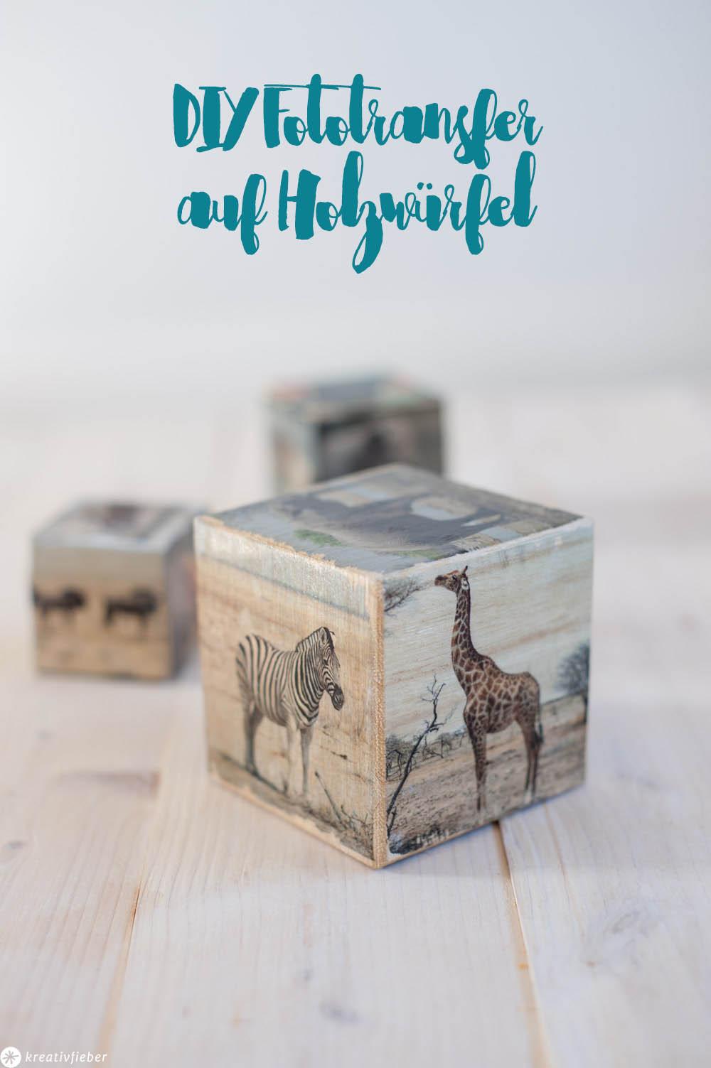 DIY Fotos mit Tieren auf Holzklötze Kinderdeko Dekoidee