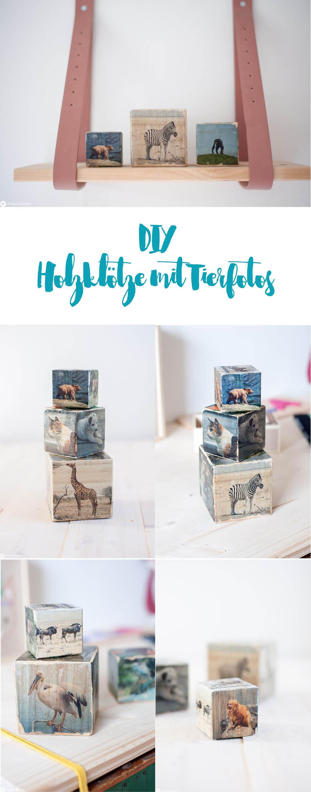 DIY Holztransfer Fotos mit Tieren auf Würfel Dekoidee geschenke für Kinder