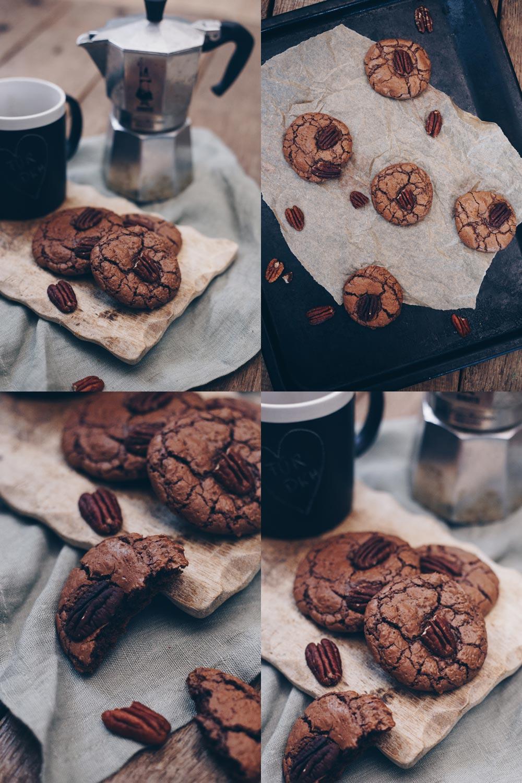 Espresso-Brownie-Cookies mit Pekannüssen Rezept