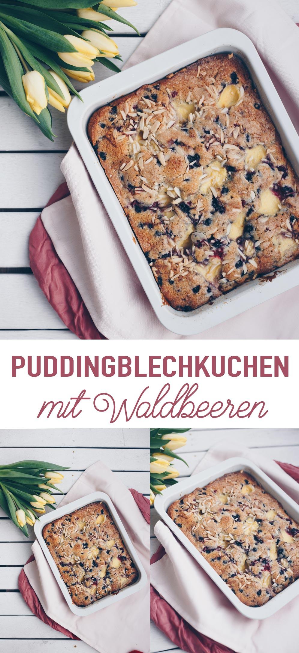 Puddingblechkuchen mit Waldbeeren backen - schnelle Rezeptidee
