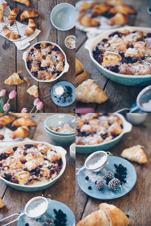 Croissant Auflauf mit Beeren und leckerem Vanilleguss selbermachen