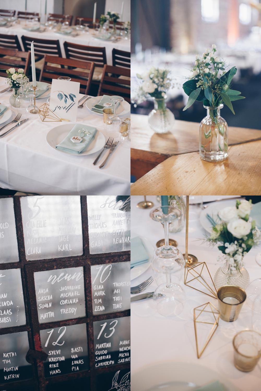 Hochzeitsdeko Inspiration DIY Scheuenhochzeit Tischdeko mit Eukalyptus und geometrischen goldenen Elementen