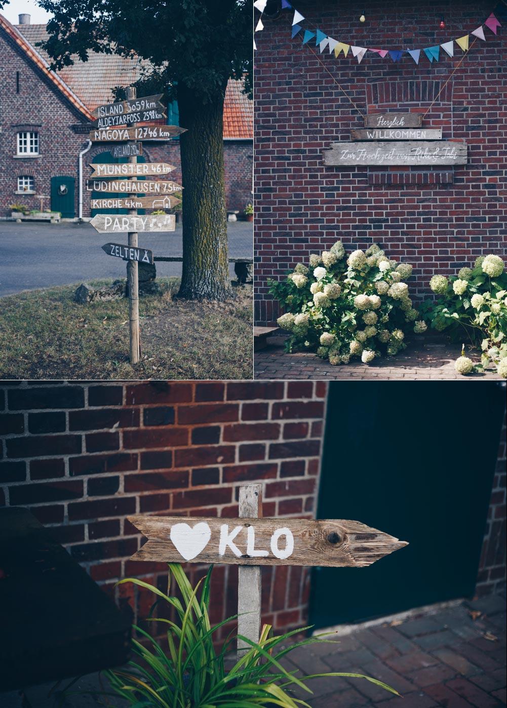 Hochzeitsdeko Inspiration DIY Scheuenhochzeit Vintage Holzschilder selbermachen