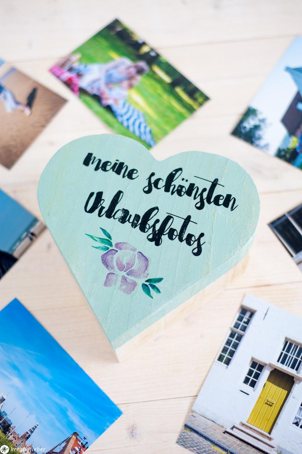 DIY Geschenkideen mit Fotos Holzschachtel Foto Bild Schrifttransfer Urlaubsfotos