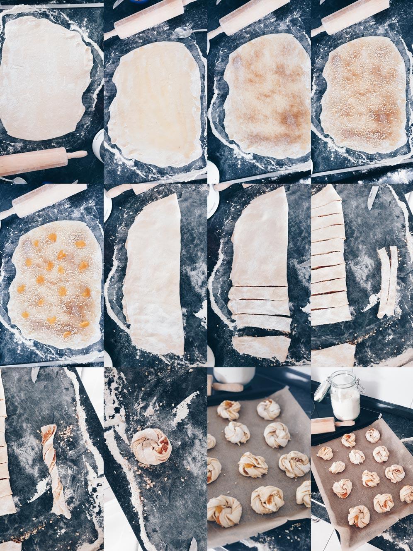 Zimtkringel mit Mandeln und Aprikosenmarmelade - Schritt für Schritt Anleitung