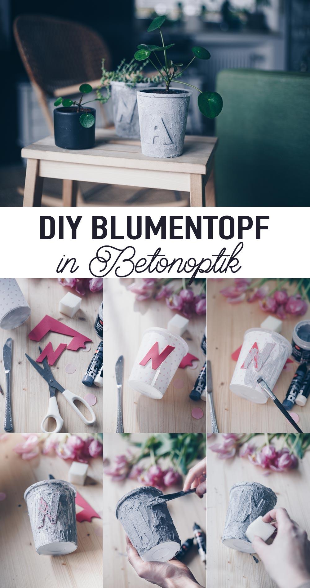 DIY Blumentopf in Betonoptik mit Buchstaben Schritt für Schritt selbermachen Upcycling Tutorial