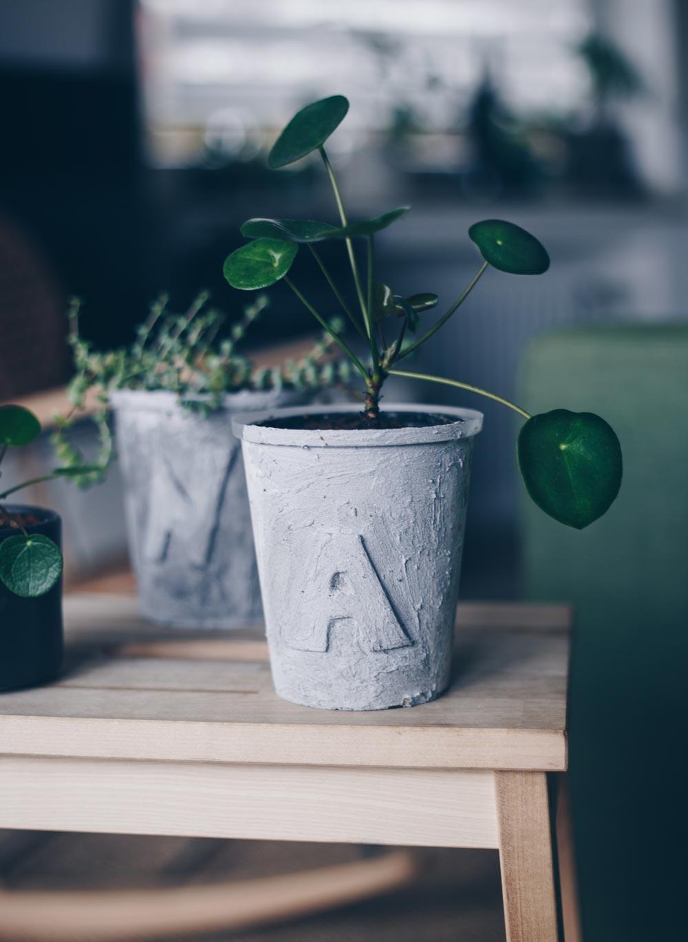DIY Blumentopf in Betonoptik mit Buchstaben selbermachen - einfaches DIY Upcycling Tutorial