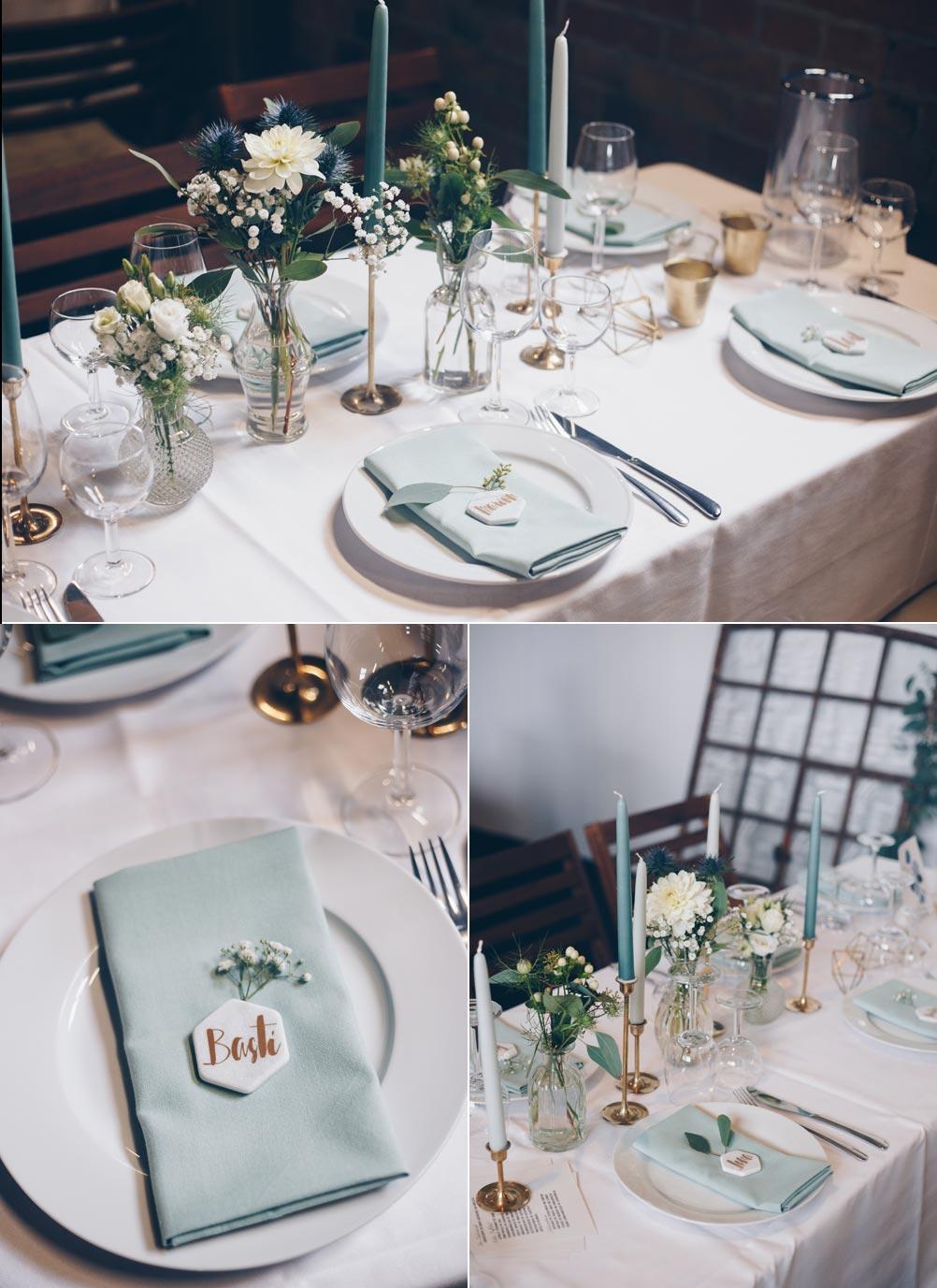 DIY Hexagon Tischkärtchen aus Marmor für Hochzeiten - Hochzeitsinspiration in Grüntönen mit Geometrischen Elementen