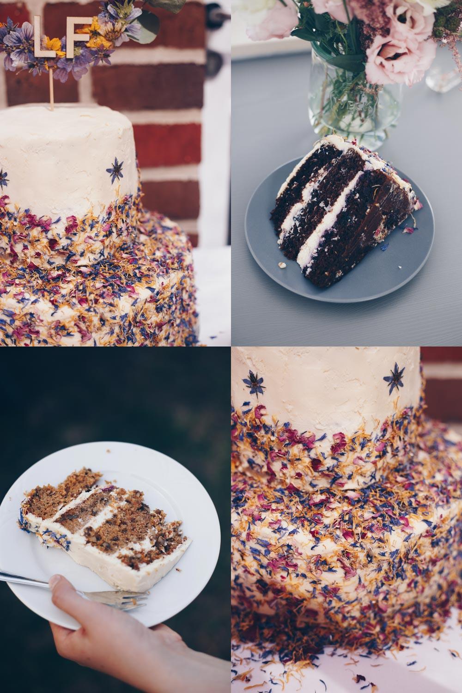 DIY Hochzeitstorte mit getrockneten Blüten selbermachen - Carrot Cake und Schokoladen-Blaubeerkuchen
