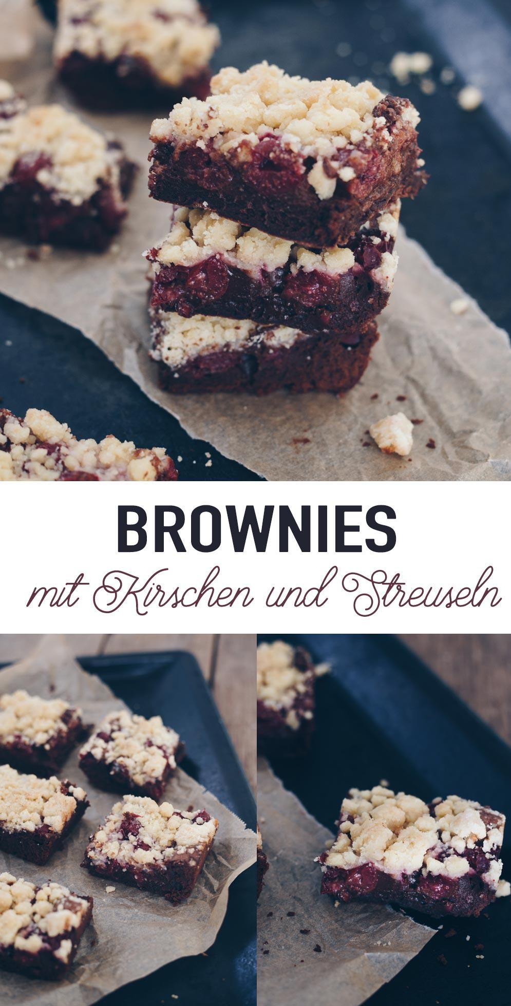 Rezeptidee Brownies mit Kirschen und Streuseln