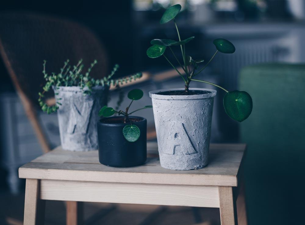 Upcycling - DIY Blumentopf in Betonoptik mit Buchstaben selbermachen