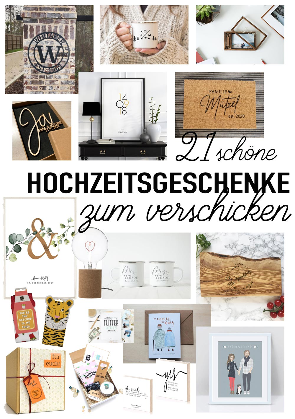 21 schöne Hochzeitsgeschenke zum Verschicken per Post
