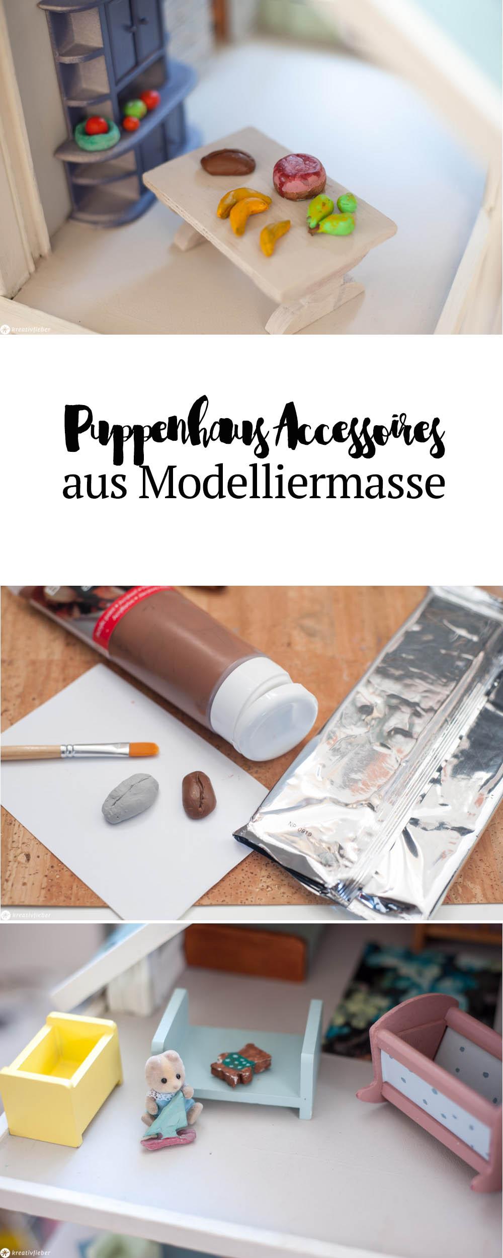Gegenstände aus Modelliermasse kneten für Puppenhäuser