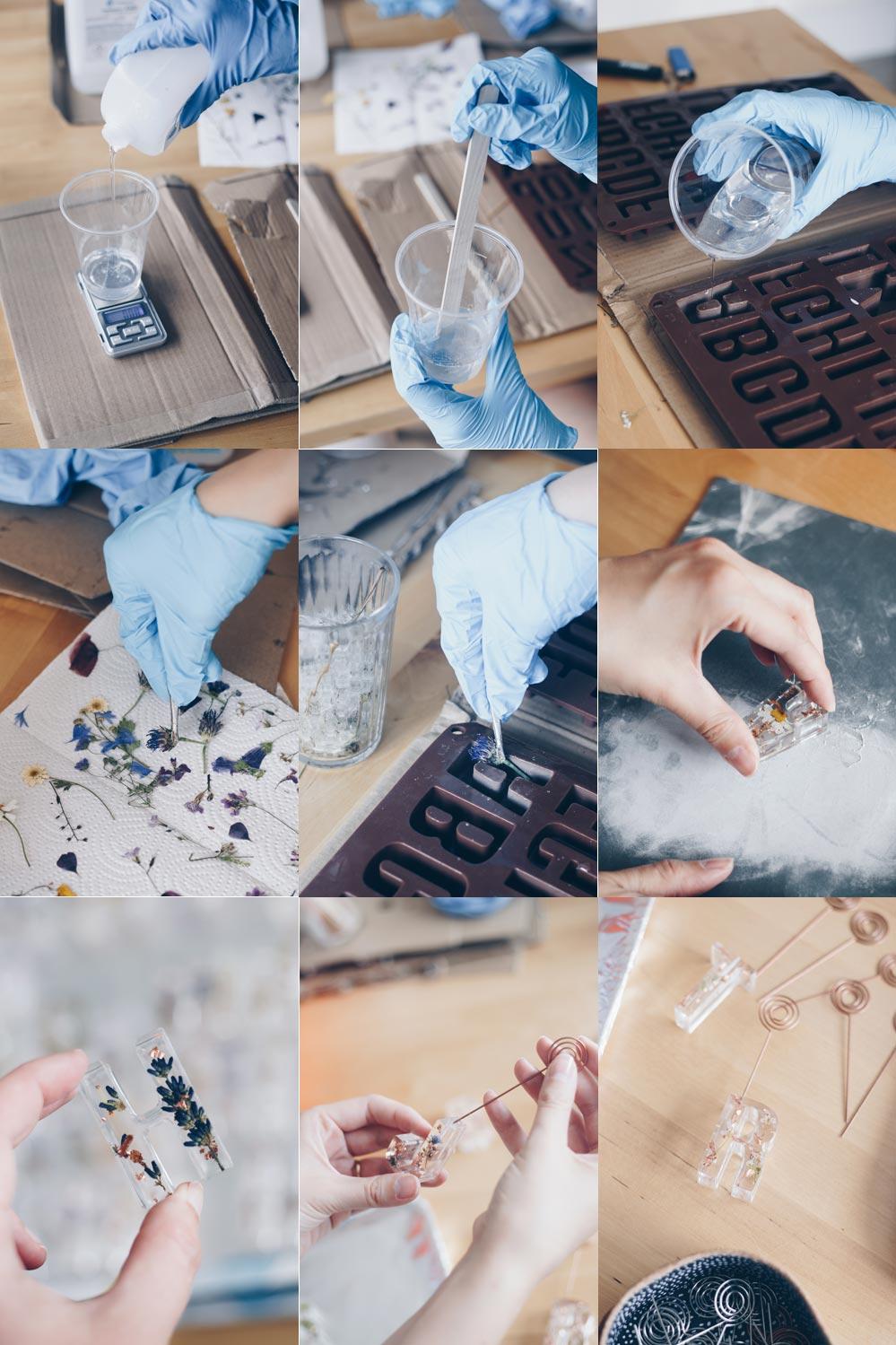 DIY Buchstaben Tischkärtchenhalter mit getrockneten Blüten aus Epoxidharz selbermachen Schritt für Schritt