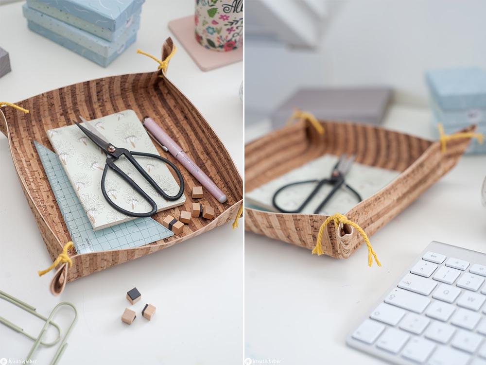 Schreibtisch aufräumen Ordnung mit Schale aus Kork Organizer