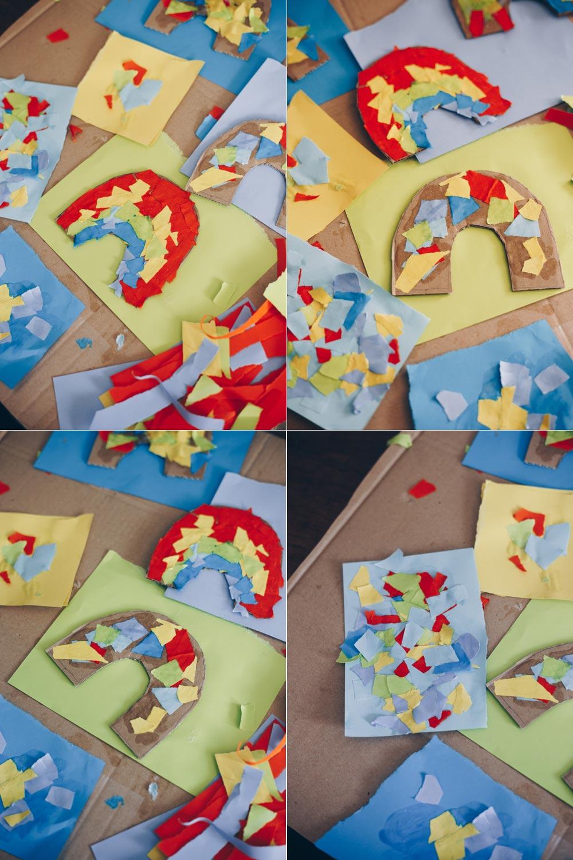 DIY Schnipsel-Regenbogen basteln - Beschäftigungsidee für Kleinkinder