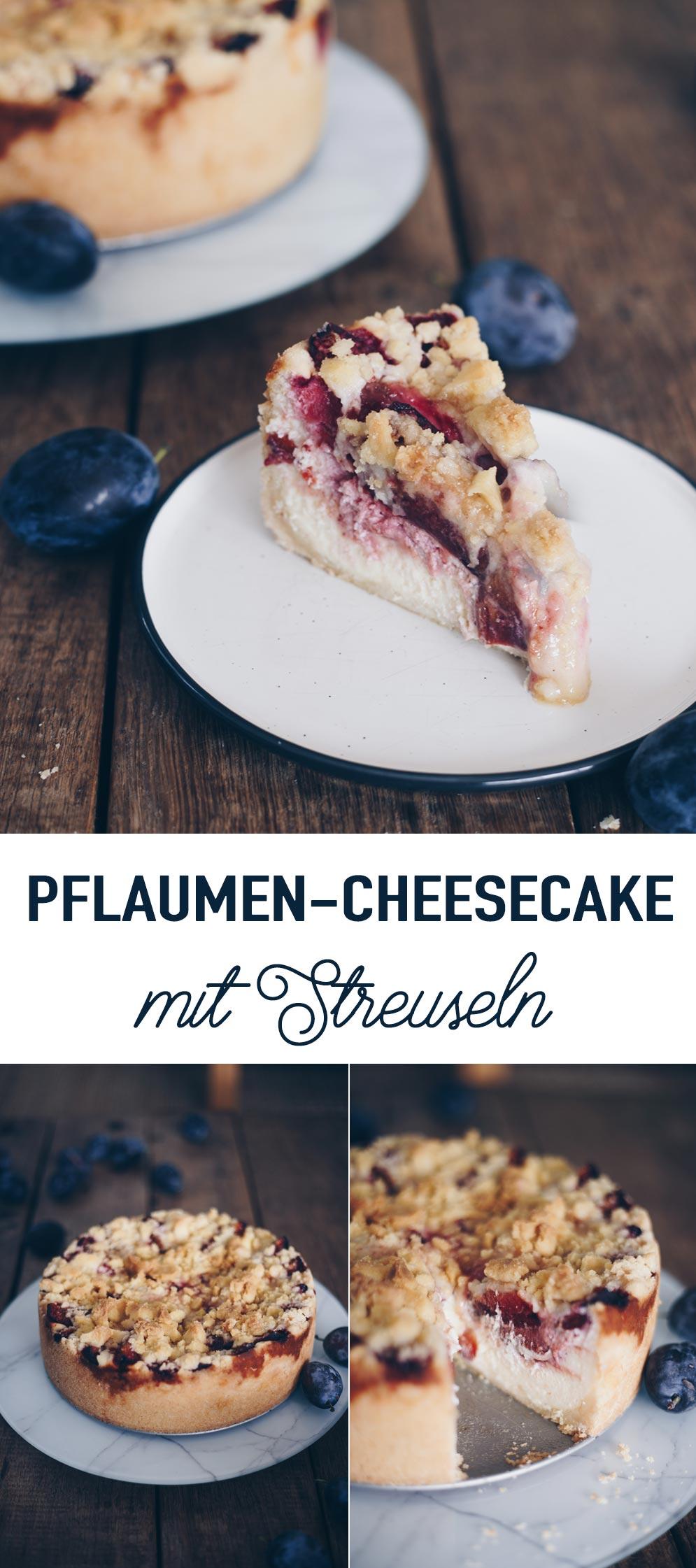 Pflaumen-Cheesecake mit Streuseln backen - einfaches Rezept