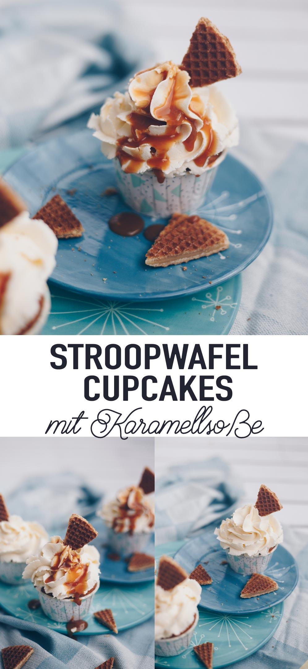 Stroopwafel Cupcakes mit Karamellsoße backen - Rezeptidee mit holländischen Karamellwaffeln