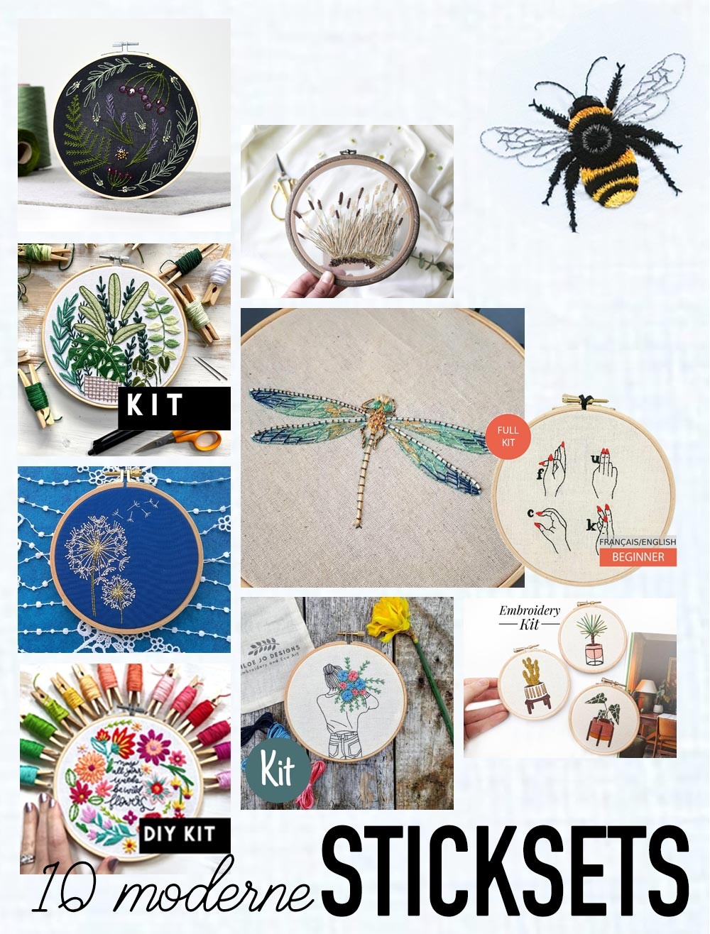 10 moderne Sticksets - DIY Sets Sticken - modern embroidery