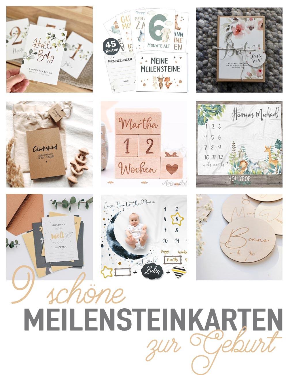 9 schöne Meilensteinkarten und Meilensteindecken zur Geburt - Baby Meilensteilkarten zum Verschenken