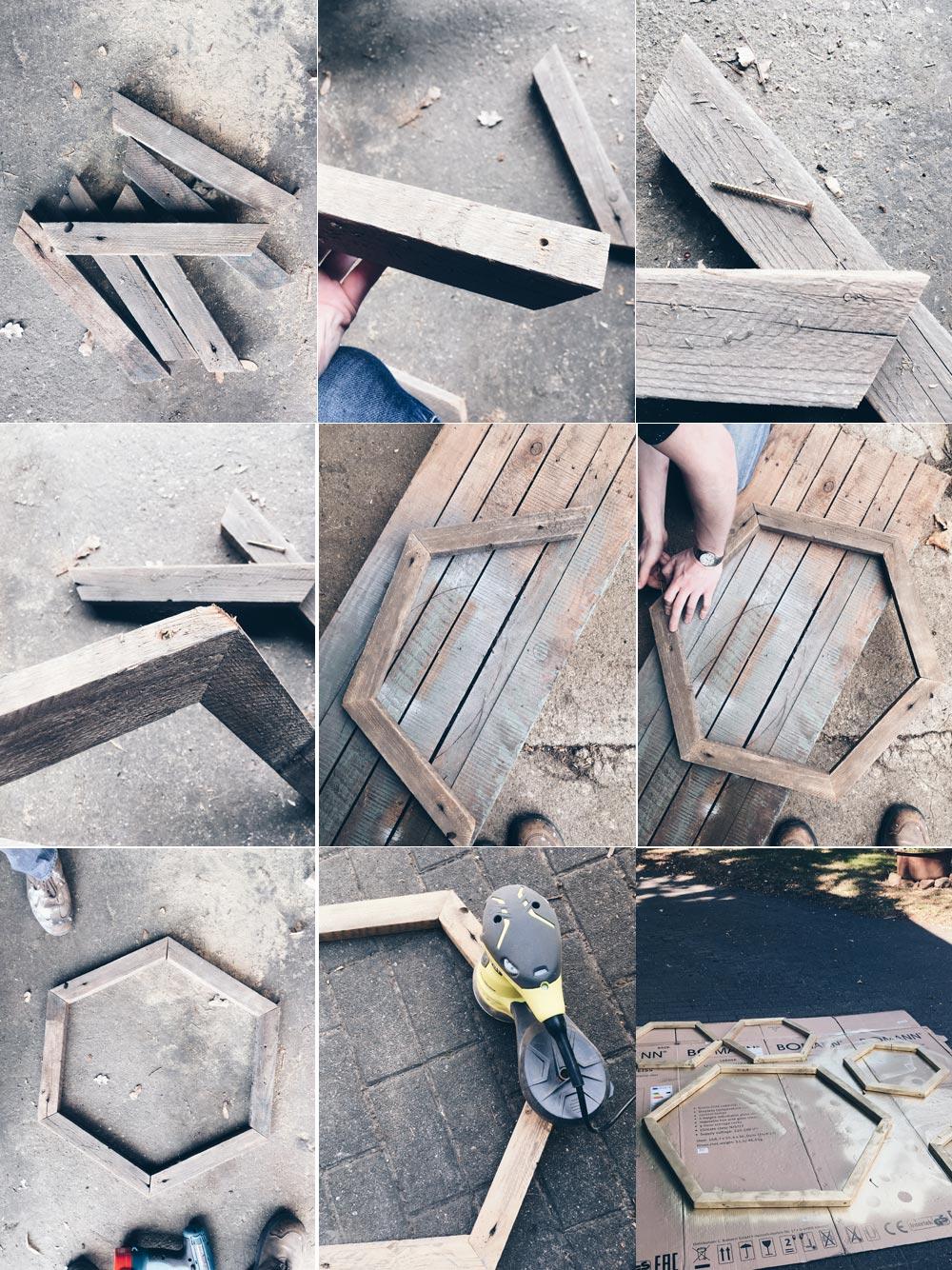 DIY Lichterwand mit Hexagon Holzrahmen - Hexagon Holzrahmen Schritt für Schritt selbermachen