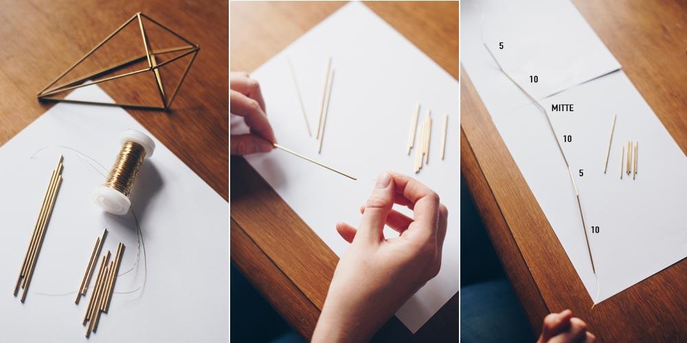 DIY geometrische goldene Himmelis selbermachen Schritt für Schritt 1